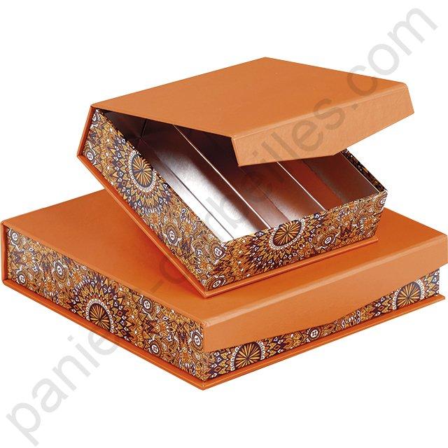 mini coffret rond orange et kraft garnir de chocolat cm. Black Bedroom Furniture Sets. Home Design Ideas