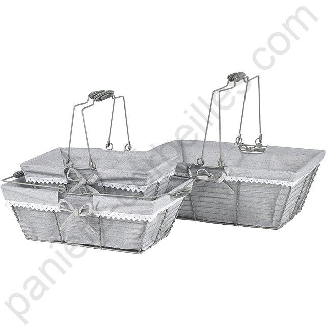 petit panier rectangle en m tal gris doubl tissu 30x20x13 cm. Black Bedroom Furniture Sets. Home Design Ideas