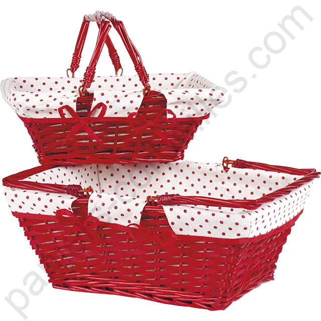 grand panier rectangulaire en osier bois rouge doubl tissu blanc pois rouge 42x32x18 cm. Black Bedroom Furniture Sets. Home Design Ideas