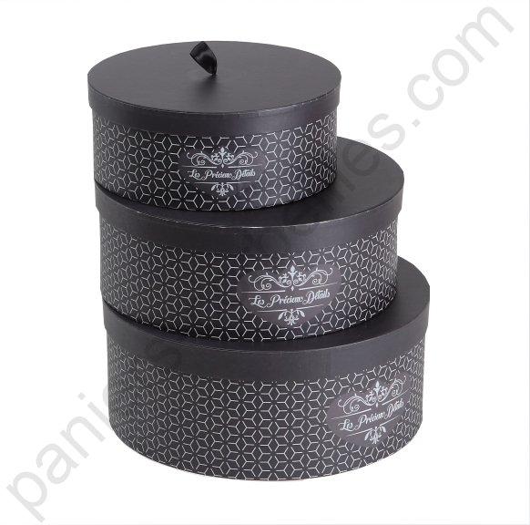 Petite boite à chapeau décor les précieux détails gris et noir ø 25 5x10 cm