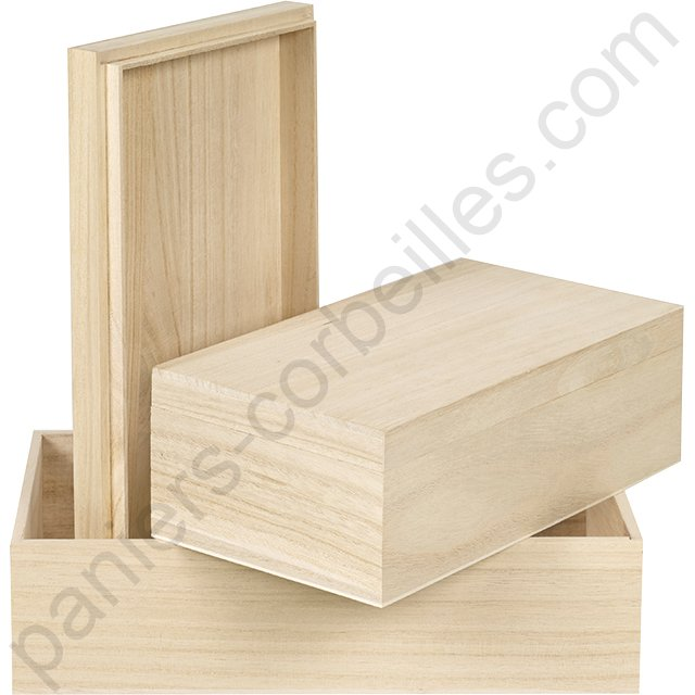 coffret rectangulaire en bois de paulownia 27x15x9 cm paniers corbeilles. Black Bedroom Furniture Sets. Home Design Ideas