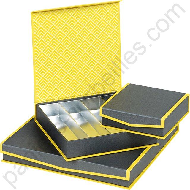 mini coffret jaune et gris garnir de chocolat cm. Black Bedroom Furniture Sets. Home Design Ideas