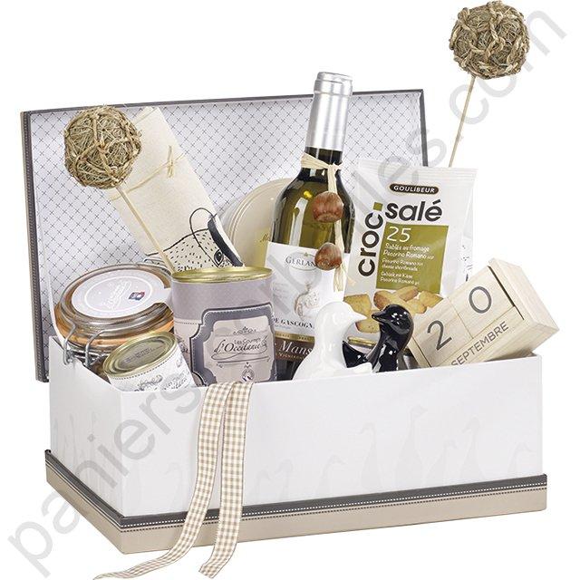 Luxueux coffret en carton blanc beige et noir d cor canard 33x21x12 cm - Canard decoration accessoire ...