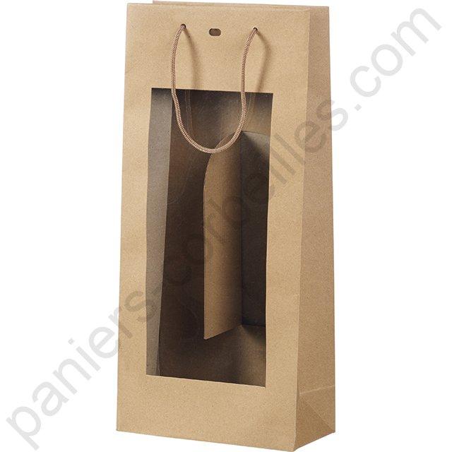 sac 1 bouteille en papier pais couleur kraft avec poign es de portage en ruban tricolore 11x9x39 cm. Black Bedroom Furniture Sets. Home Design Ideas