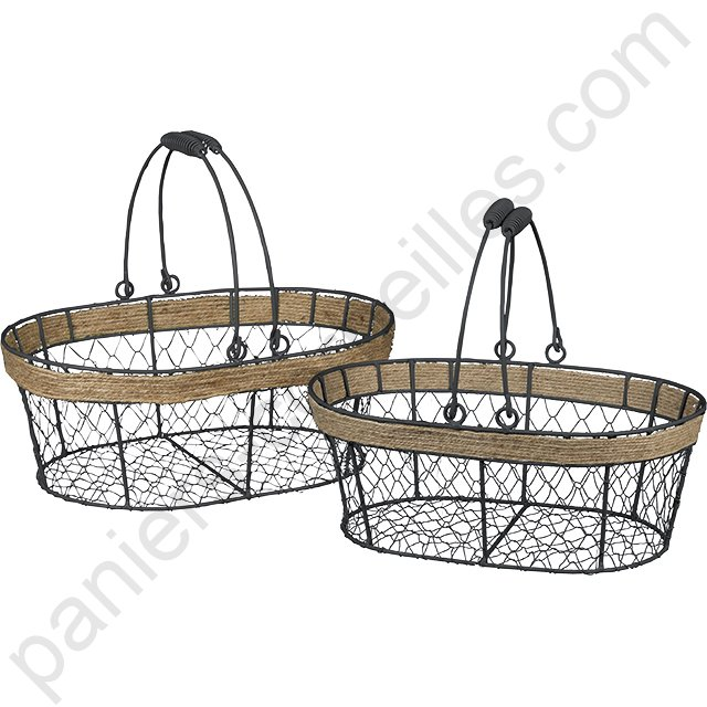 panier ovale en m tal noir grillage et corde avec anses 35x25x13 cm. Black Bedroom Furniture Sets. Home Design Ideas