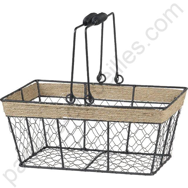 petit panier rectangulaire en m tal noir grillage et corde avec anses 30x20x13 cm. Black Bedroom Furniture Sets. Home Design Ideas