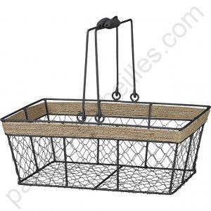 panier rectangulaire en m tal noir grillage et corde avec anses 35x25x13 cm. Black Bedroom Furniture Sets. Home Design Ideas