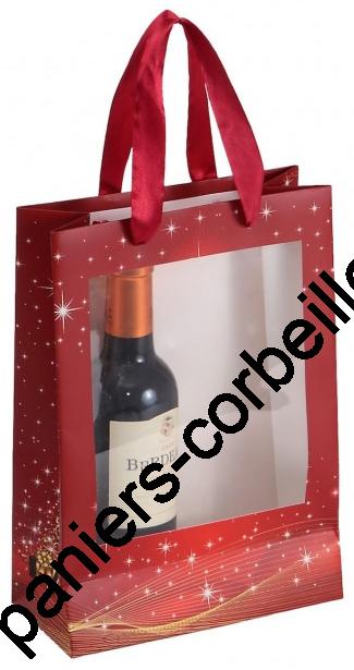 sac 2 bouteilles en carton avec son d cor no l et sa fen tre transparente 19x9x27 cm. Black Bedroom Furniture Sets. Home Design Ideas