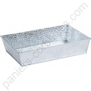 Grande corbeille rectangle en zinc martelé 32x23x7  cm