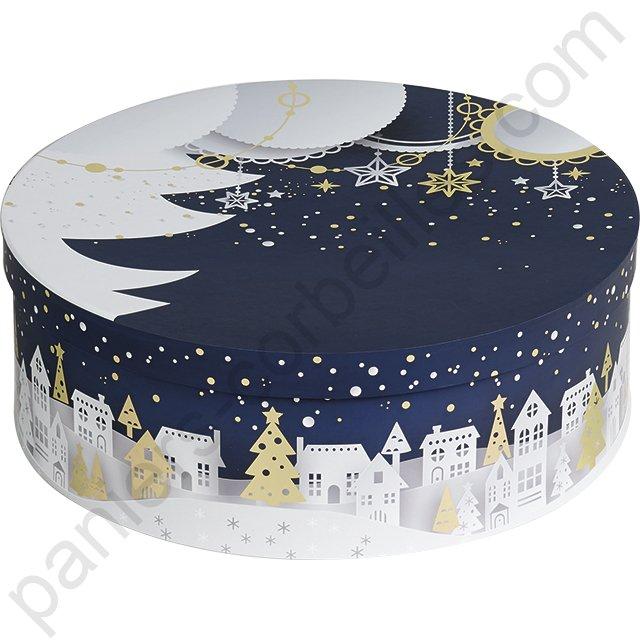 magasin britannique prix raisonnable nouveau style de vie Boite à chapeau ronde en carton bleu, blan et or décor