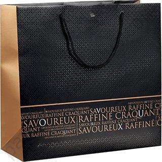 grand sac boutique en papier pais noir et rouge d cor savoureux craquant et raffin 35x13x33 cm. Black Bedroom Furniture Sets. Home Design Ideas